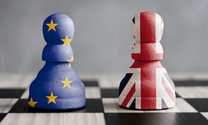 Brexit - image of chess pieces with UK and EU colours