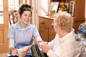 Carer in older adult's home